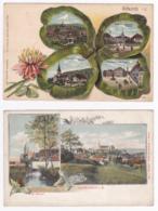 Lot De 2 CP Illustrées Multivues Couleur (gauffrée Trèfle à 4 Feuilles, 4 Vues & Vue Générale, St Morand) Altkirch - Altkirch
