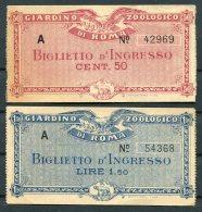 Italy Rome Zoo Tickets X 2 / Giardino Zoologico Di Roma Biglietto D'Ingresso - Tickets - Vouchers