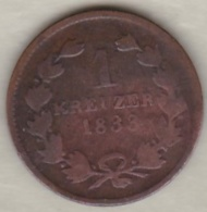 Grand-duché De Bade .  1 Kreuzer 1833 Leopold I . KM# 197.2 - Small Coins & Other Subdivisions