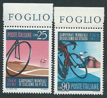 Italia 1968; Campionati Mondiali Di Ciclismo Su Pista, Serie Completa Di Bordo Superiore. - 1961-70: Mint/hinged