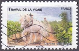 Oblitération Moderne Sur Adhésif De France N°  822 - Faune - Chevaux De Trait, Travail De La Vigne - France