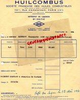 87- LIMOGES-FACTURE HUILCOMBUS-HUILES FRANCAISES-70 RUE AMSTERDAM- STE CELTIC 2 BOULEVARD LOUIS BLANC-GARAGE-1950 - Cars