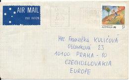 Australia Cover Sent Air Mail To Denmark 1990 Single Franked - 1990-99 Elizabeth II