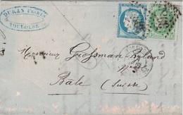 HAUTE GARONNE - TOULOUSE - CERES 5c+25c - LETTRE AVEC TEXTE ENTETE ET SIGNATURE  DURAN ENTREPOT DE FROMAGES (P1) - 1849-1876: Période Classique