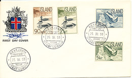 Iceland FDC 25-11-1959 Salmon And Eiders Complete Set Of 4 - Schaken