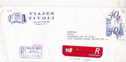 VIAJES TIVOLI SOBRE ENVELOPE CIRCULEE PANAMA TO ARGENTINE CIRCA 2000. RECOMMANDE - BLEUP - Panama