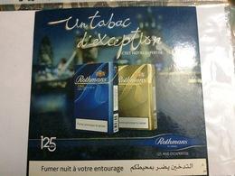 ROTHMANS UN TABAC D'EXCEPTION -125 ANS D'EXPERTISE-PUB SUR CARTON RIGIDE - Tabac (objets Liés)