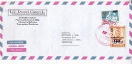 LIC DANIEL CASCO L AIRMAIL SOBRE ENVELOPE CIRCULEE HONDURAS TO ARGENTINA PAR AVION RECOMMANDE CIRCA 2000- BLEUP - Honduras