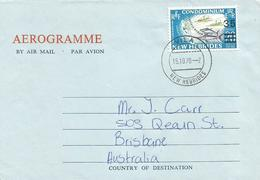 New Hebrides 1970 Vila Fishing Tuna Overprint 35c On 20c Aerogramme - Engelse Legende