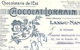 Facture 1927 / 54 LAXOU-NANCY / Chocolat LORRAIN / Chocolaterie De L'EST / 88 Coop Neufchâteau - France