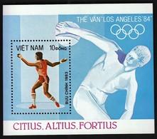Viet Nam / Olympic Games Los Angeles 1984 / Athletics - Discus Thrower / Mi Bl 20 / MNH - Verano 1984: Los Angeles