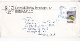 SOC FILATELICA DOMINICANA INC CIRCULEE REPUBLICA DOMINICANA TO ARGENTINA CIRCA 1998- BLEUP - Dominicaanse Republiek