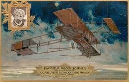 AVIATION , Collection Lefevre Utile , Carte Gaufrée , Biplan Farman De Roger Sommer , * 358 21 - Aviateurs