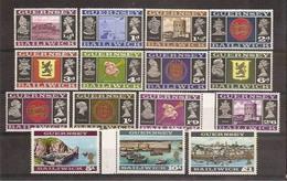 1969 Guernsey SERIE ORDINARIA 15 Valori: 1/2 + 4/11 + 14/18 MNH** DEFINITIVE  VIEWS - Guernesey