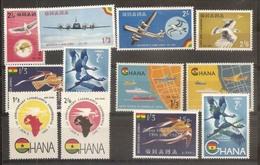 1958 1965 Ghana POSTA AEREA  AIRMAIL 5 Serie Con 12v. (A1/12) MNH** - Ghana (1957-...)
