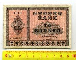2 Kronen / To Kroner,1943, >#* Deutsche Besetzung NORWEGEN *#,gebraucht - Norvège