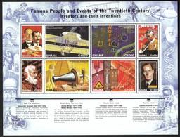 Ghana / Bell, Telephone / Wright, First Plane / Claude, Neon Lamp / Townes, Laser / Mi 2843-2850 / MNH - Wissenschaften