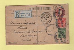 Londres - Lettre Recommandee Pour Montlucon Allier - 1916 - 1902-1951 (Rois)