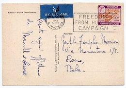 RHODESIA AND NYASALAND (ZIMBABWE) - BUFFALO - WANKIE GAME RESERVE / CANCEL FREEDOM FROM HUNGER 1963 - Zimbabwe