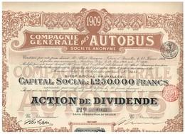 Action Ancienne - Compagnie Générale Des Autobus - Titre De 1909 - N° 04655 - Transports