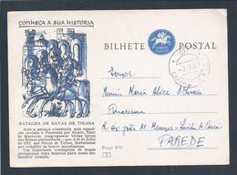 Postal Stationery.Batalha De Navas De Tolosa.Cavalos.Tropas.Muçulmanos.D. Afonso II.Obliteração Caparica FNAT 1955. - Entiers Postaux