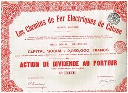 Action Ancienne - Les Chemins De Fer Electriques De Catane - Titre De 1911 - N° 4121 - Railway & Tramway