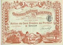Ancienne Action - Compagnie Générale De Traction  - Titre De 1902 - Déco - Imprimerie Chaix - Titre N°039429 - Ferrovie & Tranvie