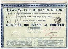 Action Ancienne - Tramways Electriques De Belfort - Titre De 1923 - N° 000066 - RARE - Chemin De Fer & Tramway