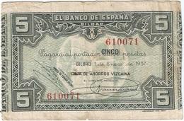 España - Spain 5 Pesetas 1-1-1937 Bilbao, Caja De Ahorros Vizcaína Pick S561g Ref 1885 - 5 Pesetas