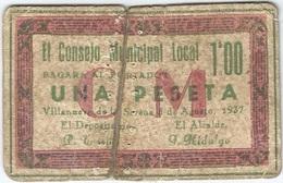 España (BILLETES LOCALES) - Spain 1 Peseta 1937 Villanueva De La Serena (Badajoz) Ref 1063-3 - 1-2 Pesetas