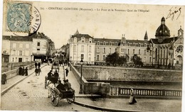 53 CHÂTEAU-GONTIER - Le Pont Et Le Nouveau Quai De L'Hôpital - Très Animée - Chateau Gontier