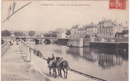 Aisne - SOISSONS - L'Aisne Et L'ancien Pont-levis - Chevaux De Halage - 1908 - Soissons