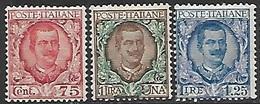 Italy  1901   Sc#86-8  75c / 1L / 1.25L  MH  2016 Scott Value $19.50 - Mint/hinged