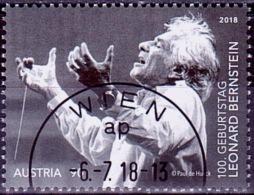 Austria Österreich 2018 100. Geb. Leonard Bernstein USED / O / GESTEMPELT - 1945-.... 2. Republik