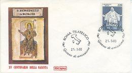 ITALIA - FDC ROMA 1980 - SAN BENEDETTO PATRONO D'EUROPA - ANNULLO TRIESTE - 1946-.. Republiek