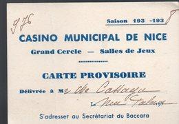Nice (06 Alpes Maritimes) Carte Provisoire CASINO MUNICIPAL 1938 (PPP14579) - Advertising