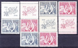 ** Tchécoslovaquie 1948 Mi 550-1+Zf (Yv 482-3+vignettes+), (MNH) - Unused Stamps