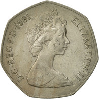 Monnaie, Grande-Bretagne, Elizabeth II, 50 New Pence, 1981, TB+, Copper-nickel - 1971-… : Monnaies Décimales