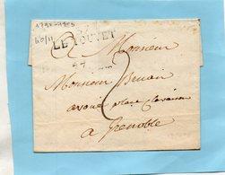 """Linéaire """"37 LE TOUVET"""" 40X11mm,L.S.C. 1790-1803. - Marcophilie (Lettres)"""