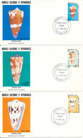 New Caledonia FDC 11-1-1984 SHELLS Complete Set Of 3 On 3 Covers With Cachet - FDC