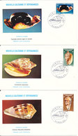 New Caledonia FDC 17-6-1981 SHELLS Complete Set Of 3 On 3 Covers With Cachet - FDC