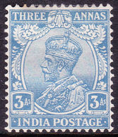 INDIA 1928 KGV 3a Blue SG209 MH CV£16+ - India (...-1947)