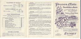 Tarif 1925 Prunes D' ENTE D' AGEN Camille Blachon à EYMET + Enveloppe - Alimentaire