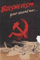 WWII WW2 German Propaganda Leaflet Tract Flugblatt, Code SKJ 2015, BOLSHEVISM...your Second War, FREE SHIPPING WORLDWIDE - Vieux Papiers