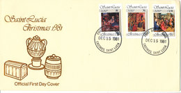 Saint Lucia FDC 15-12-1981 Complete Set Of 3 Christmas With Cachet - St.Lucia (1979-...)