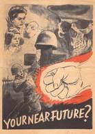 WWII WW2 German Propaganda Leaflet Tract Flugblatt, YOUR NEAR FUTURE?, FREE SHIPPING WORLDWIDE - Vieux Papiers