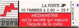 FRANCE - Carnet N° 2720-C3 Type Marianne De Briat - 2,50 Fr. Rouge - Mediametrie - 10 Timbres - Usage Courant