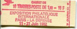FRANCE - Carnet N° 2187-C2a Type LIBERTE DELACROIX -VALIDITE PERMANENTE Rouge - CONF 4 - 10 Timbres 1,60fr Cote 35E - Carnets
