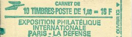 FRANCE - Carnet N° 2155-C2a Type SABINE - Rouge MATE - CONF 6 - 10 Timbres 1,60fr Cote 19E - Carnets