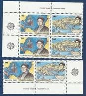 1992 Grecia Greece EUROPA CEPT EUROPE 3 Serie Di 2v. MNH** Colombo (coppie) - Europa-CEPT